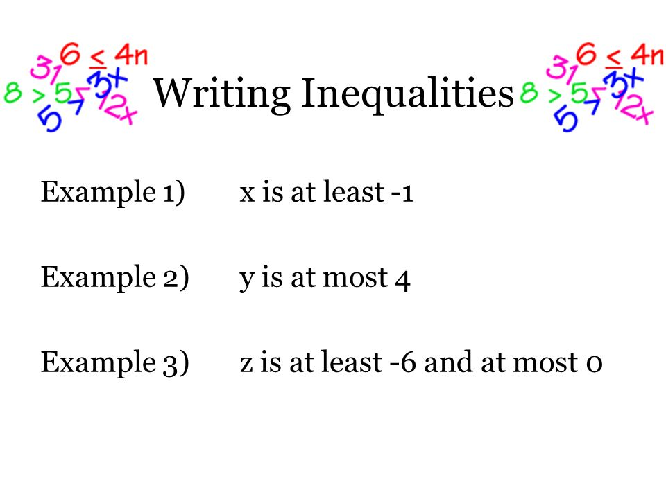 Writing Inequalities Example 1) x is at least -1 Example 2) y is at most 4 Example 3) z is at least -6 and at most 0