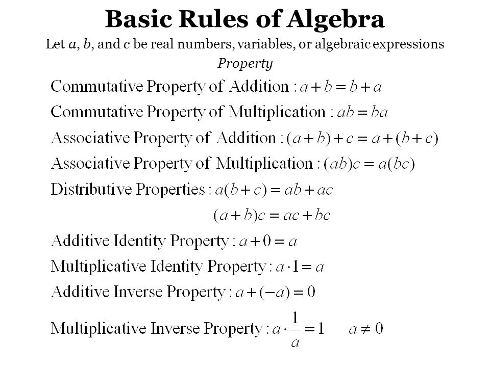 Basic Rules of Algebra Let a, b, and c be real numbers, variables, or algebraic expressions Property