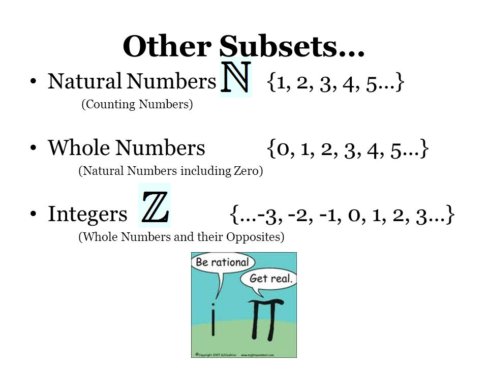 Other Subsets… Natural Numbers {1, 2, 3, 4, 5…}