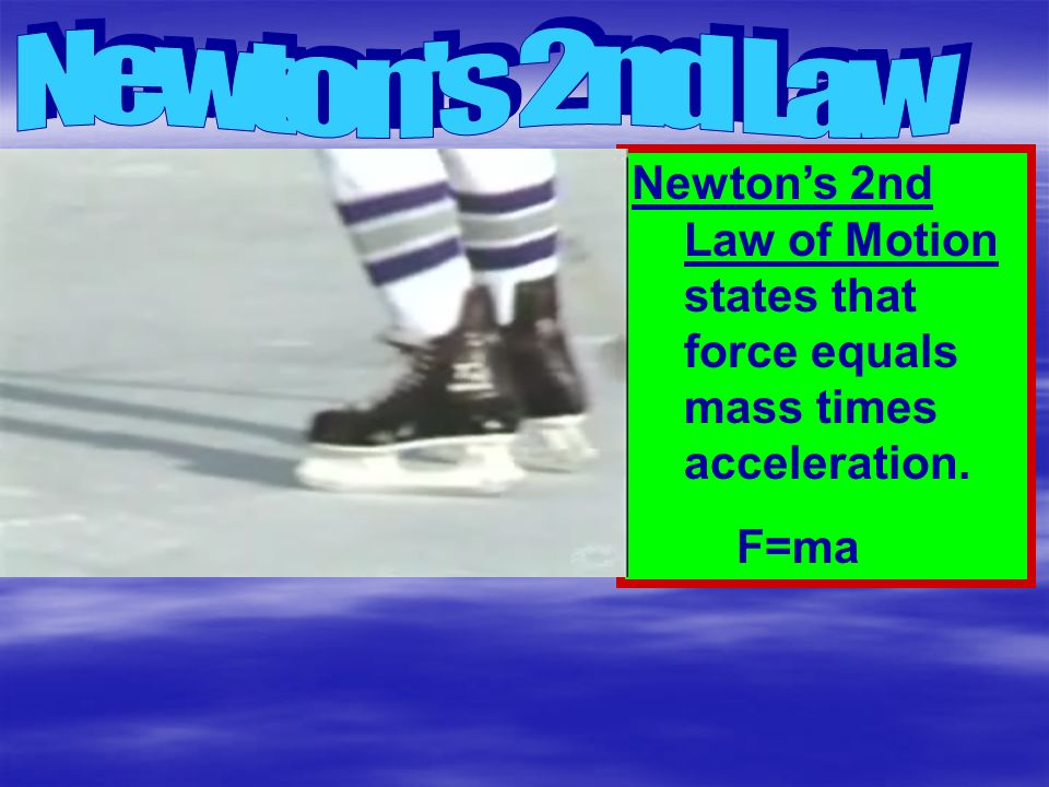 Newton s 2nd Law Newton's 2nd Law of Motion states that force equals mass times acceleration. F=ma
