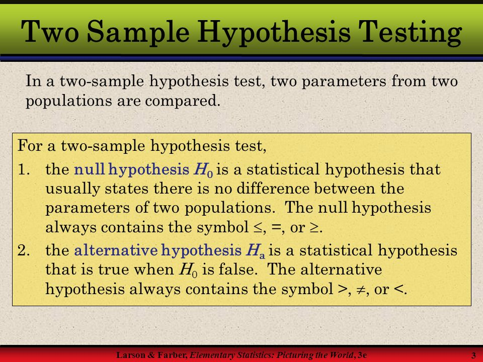 Hypothesis testing with two samples ppt video online download.