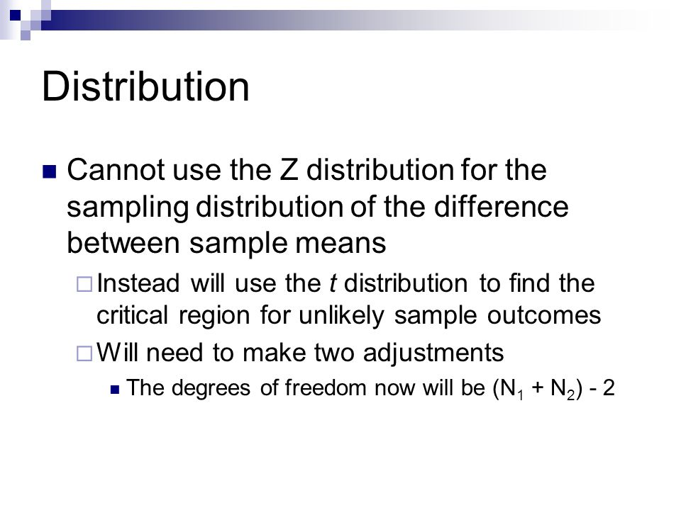 Distribution Cannot use the Z distribution for the sampling distribution of the difference between sample means.