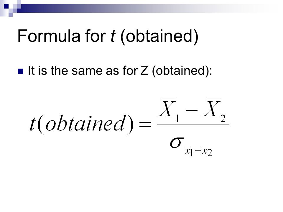 Formula for t (obtained)