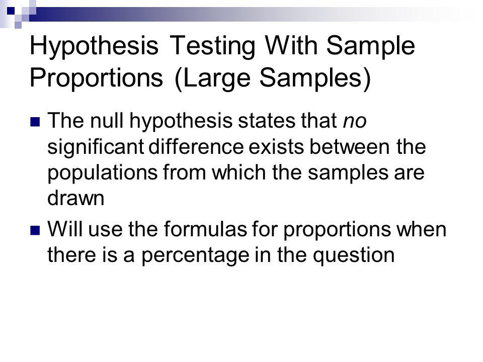 Hypothesis Testing With Sample Proportions (Large Samples)