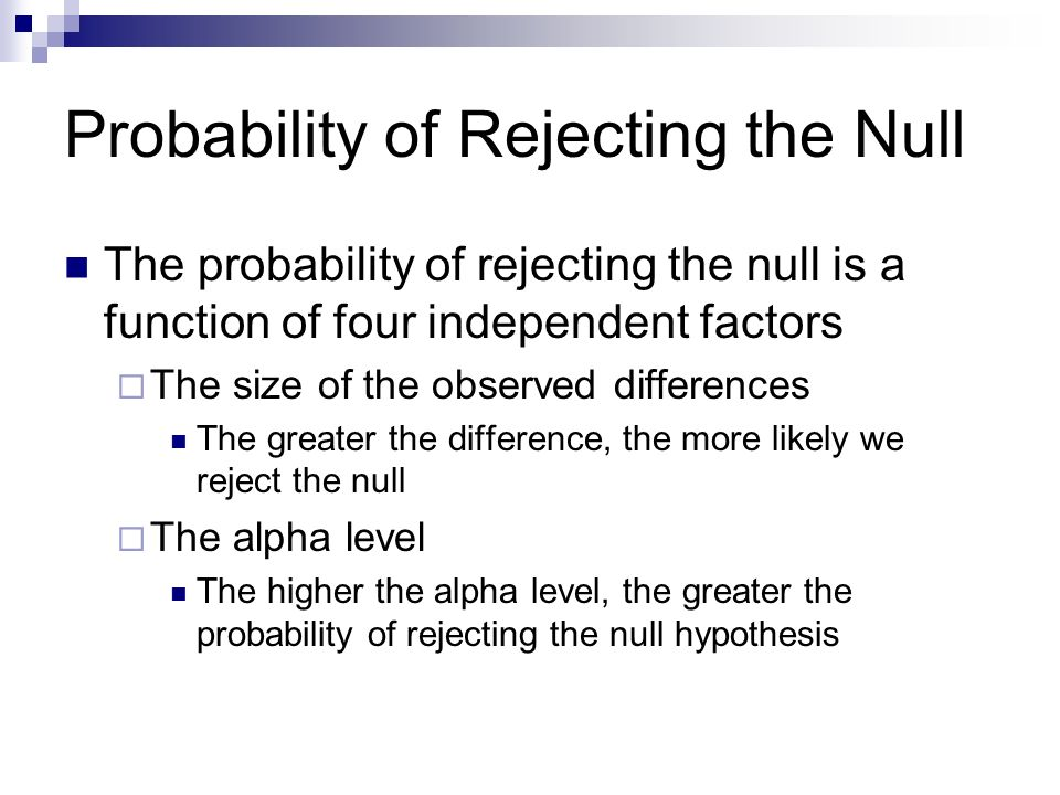 Probability of Rejecting the Null