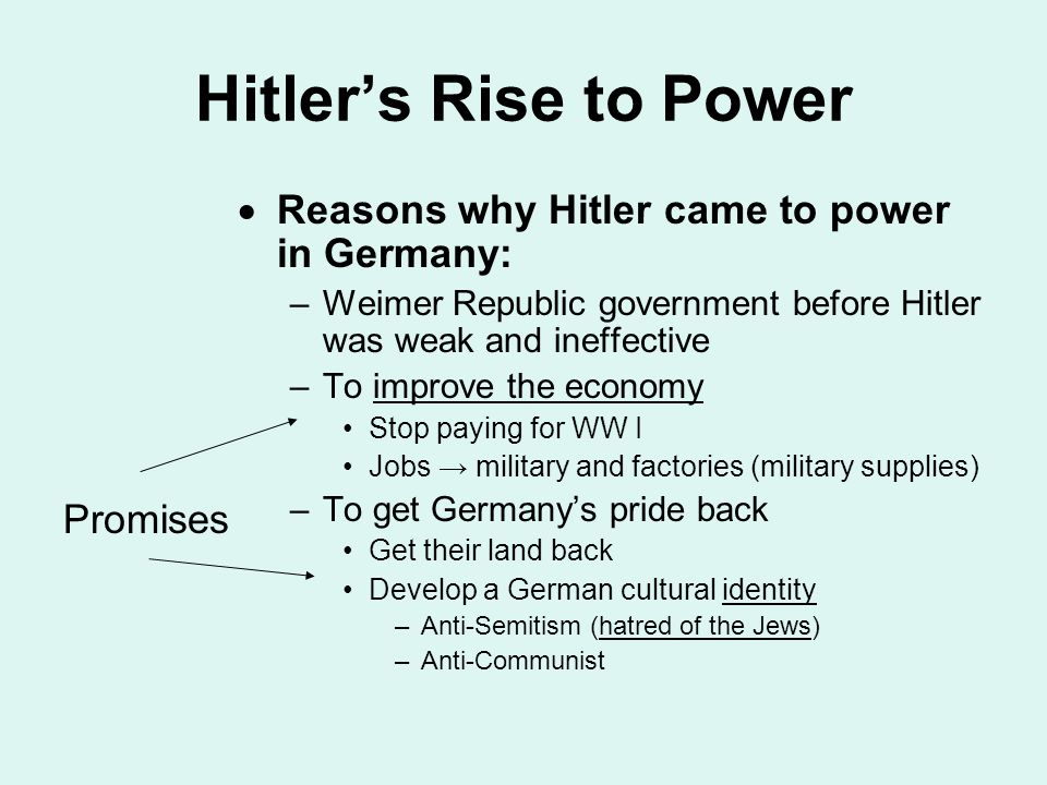 hitlers rise to power in germany history essay Germany was forced to sign after ww1, the treaty of versailles, which was a peace settlement in where many restrictions were placed on germany, and was an important reason why the nazis came to power.