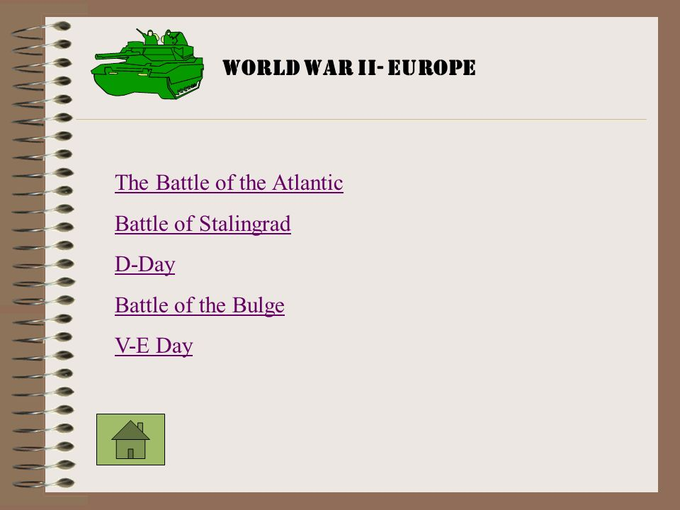 The Battle of the Atlantic Battle of Stalingrad D-Day