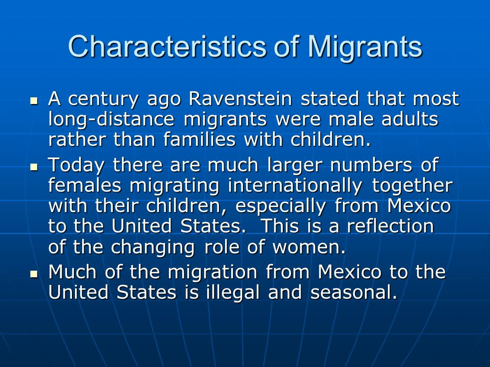 Characteristics of Migrants