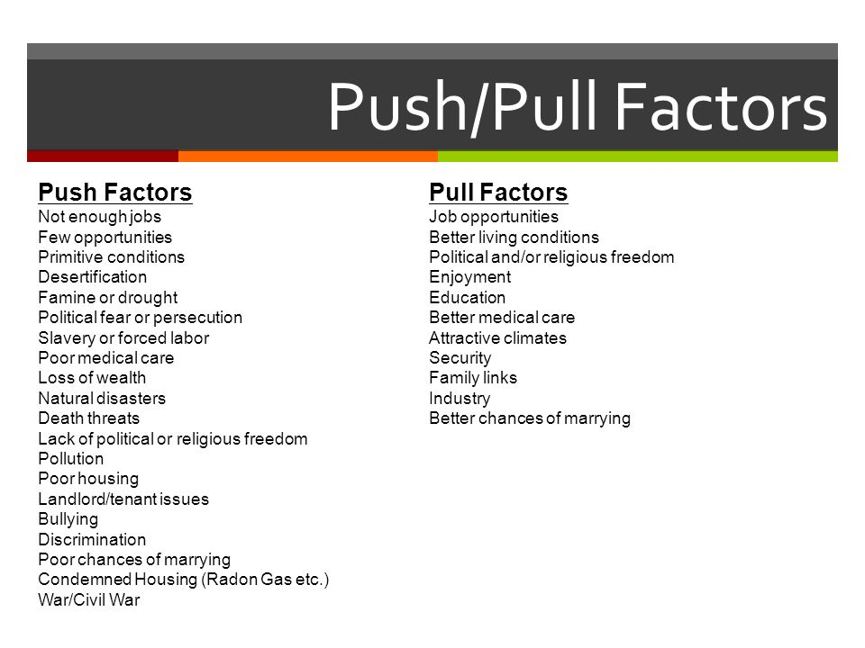 Push/Pull Factors Push Factors Pull Factors Not enough jobs