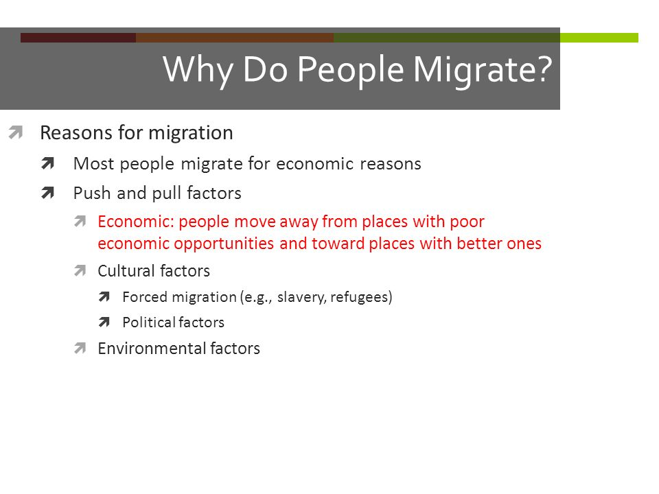 Why Do People Migrate Reasons for migration