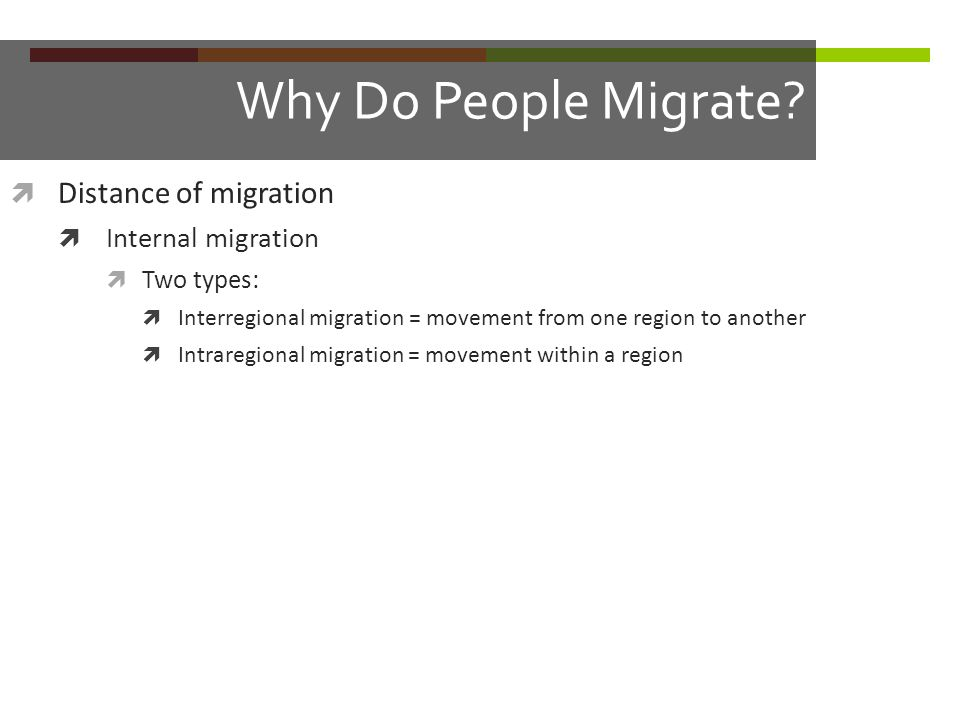 Why Do People Migrate Distance of migration Internal migration