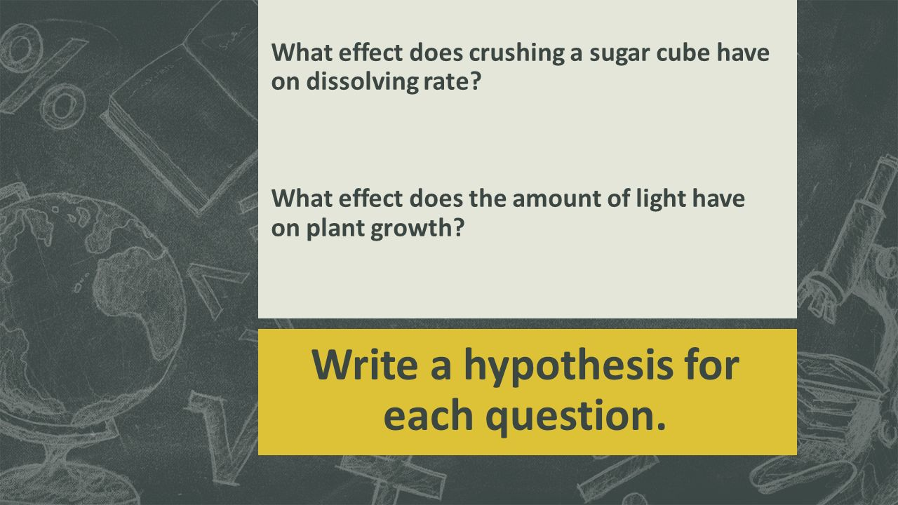 Write a hypothesis for each question.