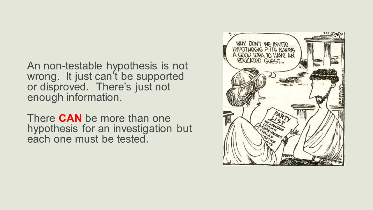 An non-testable hypothesis is not wrong