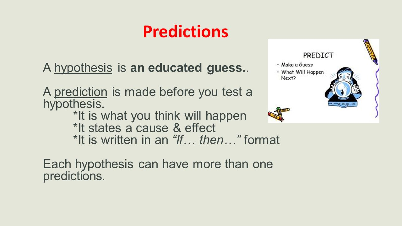 Predictions A hypothesis is an educated guess..