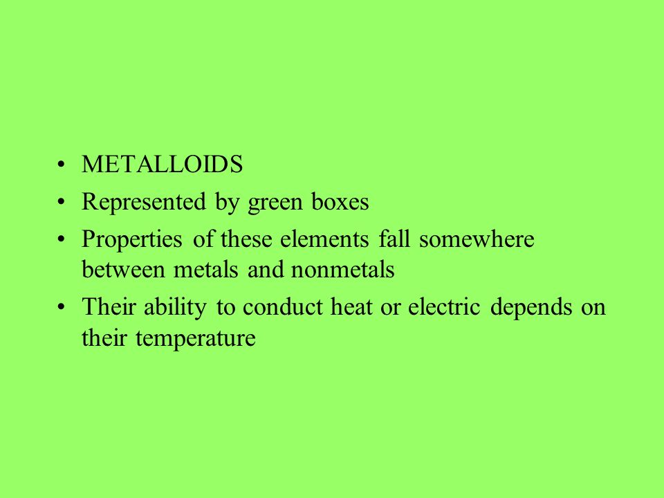 METALLOIDS Represented by green boxes. Properties of these elements fall somewhere between metals and nonmetals.