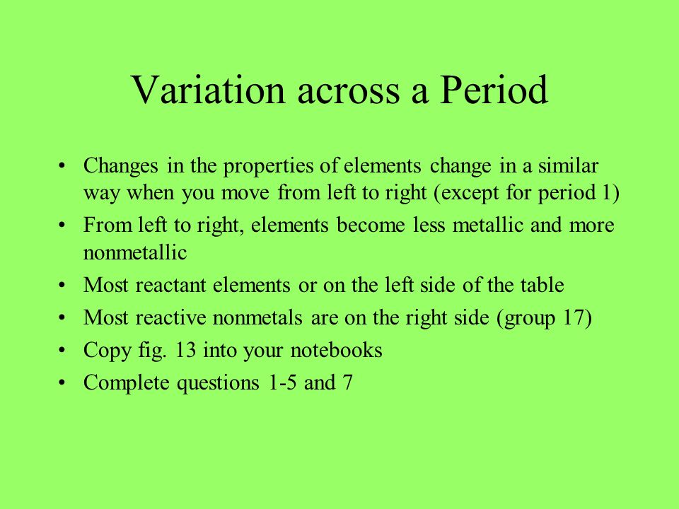 Variation across a Period