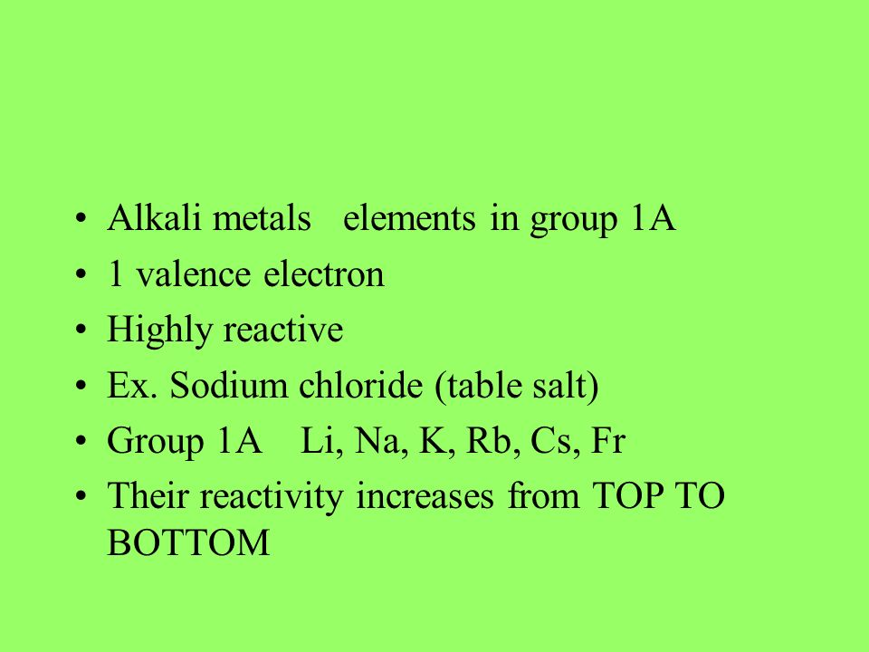 Alkali metals elements in group 1A
