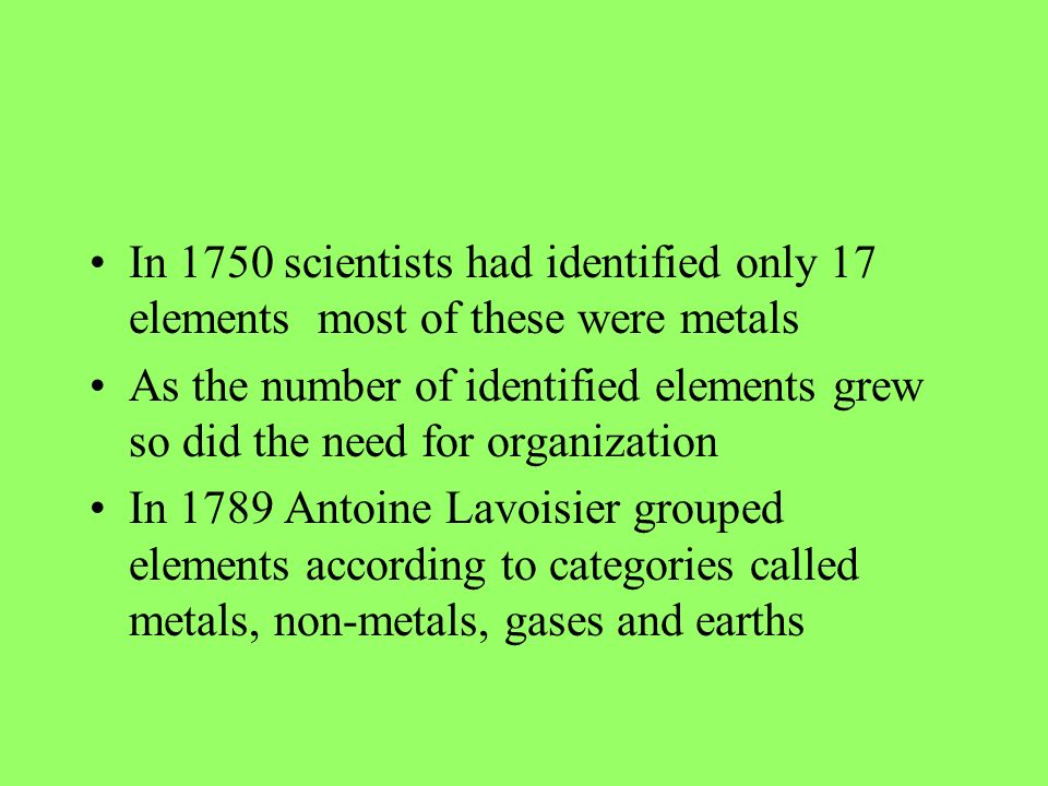 In 1750 scientists had identified only 17 elements most of these were metals