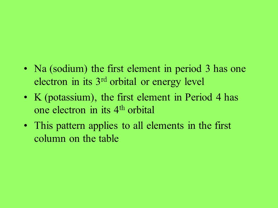 Na (sodium) the first element in period 3 has one electron in its 3rd orbital or energy level