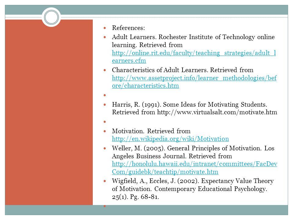 Journal adult education motivation
