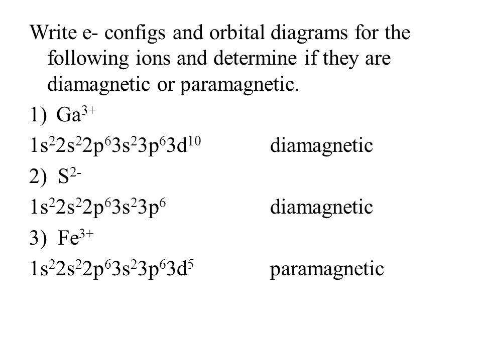 Chapter 8 review of quantum numbers principal quantum number n write e configs and orbital diagrams for the following ions and determine if they are ccuart Choice Image