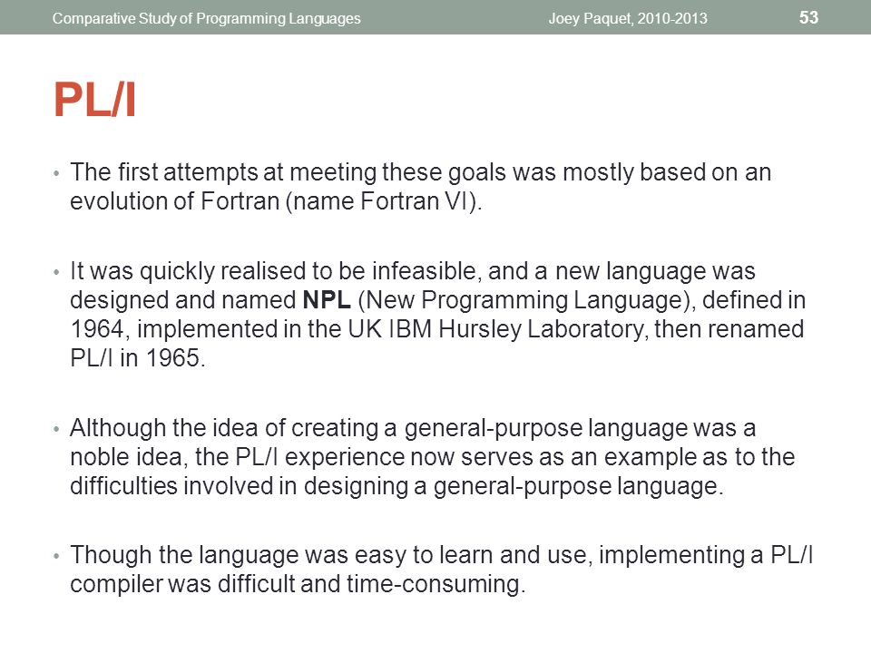 COMP6411 Comparative Study of Programming Languages - ppt