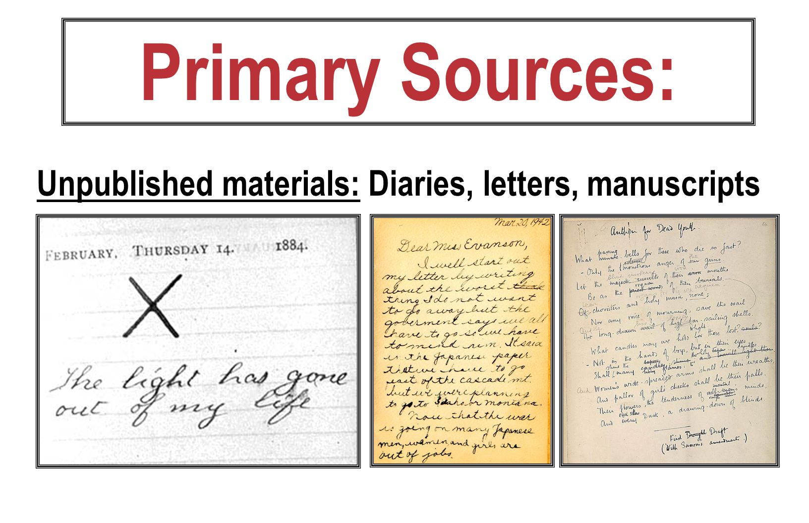Primary Sources: Unpublished materials: Diaries, letters, manuscripts