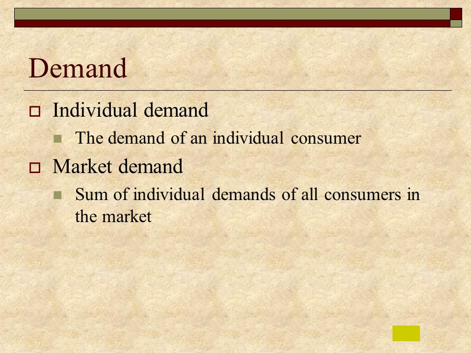Demand Individual demand Market demand