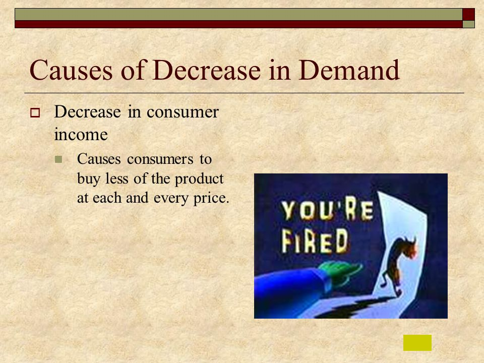 Causes of Decrease in Demand