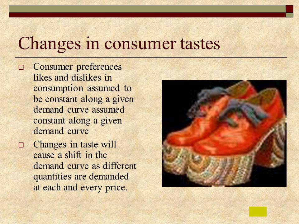 Changes in consumer tastes