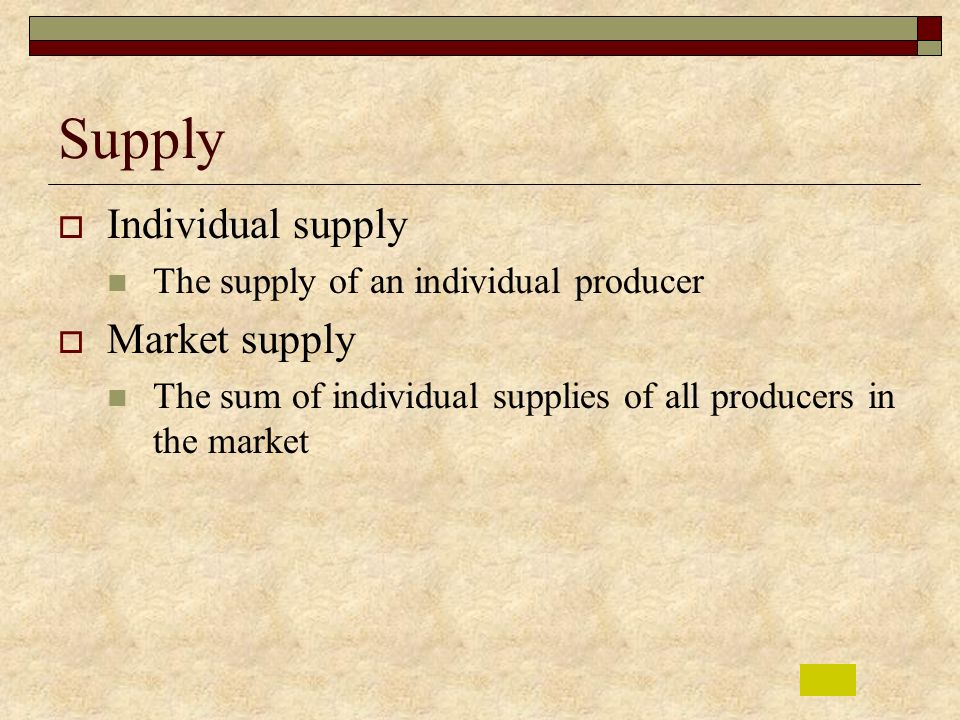 Supply Individual supply Market supply