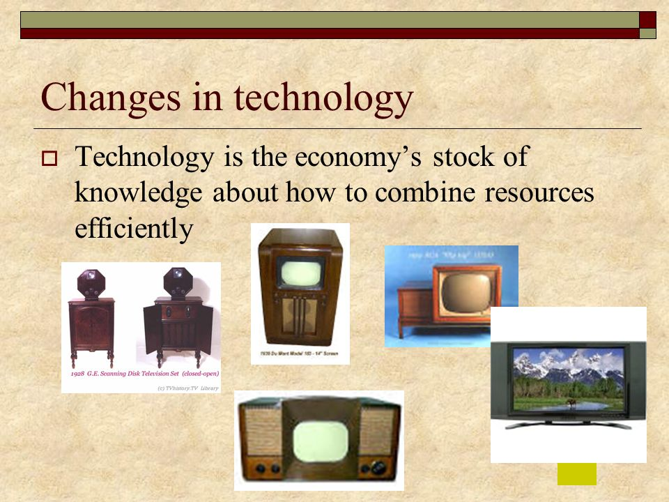 Changes in technology Technology is the economy's stock of knowledge about how to combine resources efficiently.