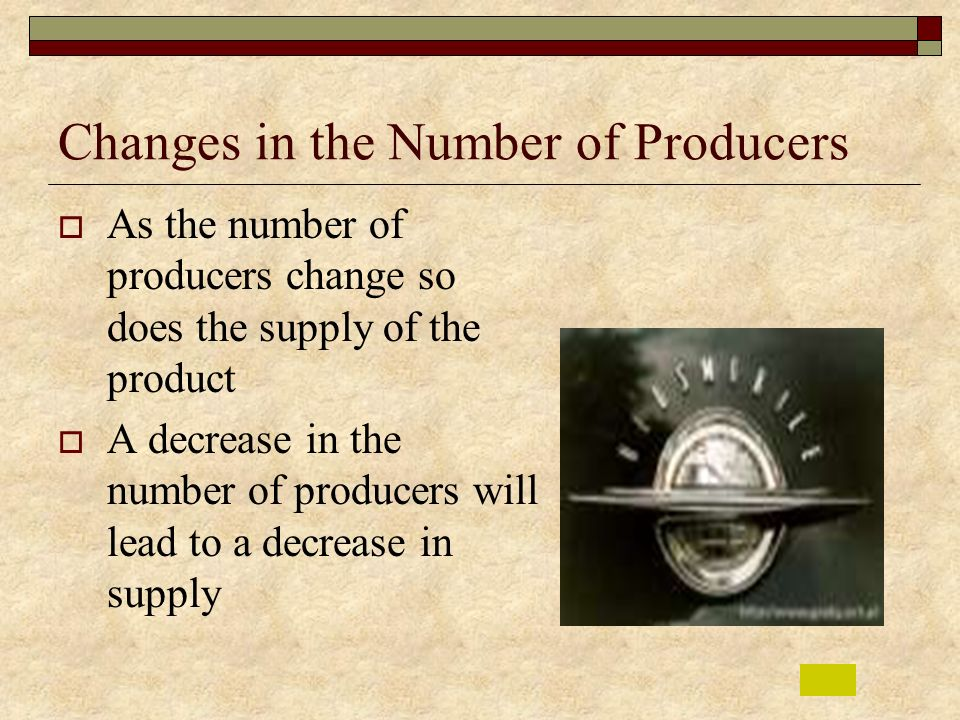 Changes in the Number of Producers