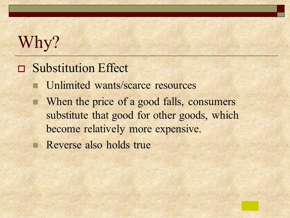 Why Substitution Effect Unlimited wants/scarce resources
