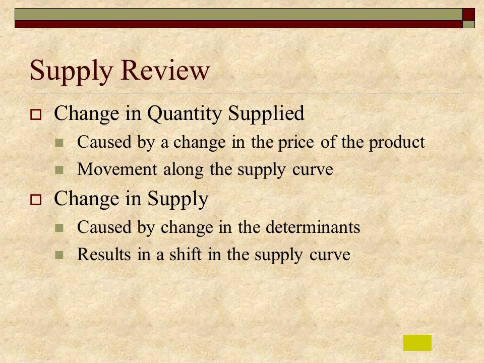 Supply Review Change in Quantity Supplied Change in Supply
