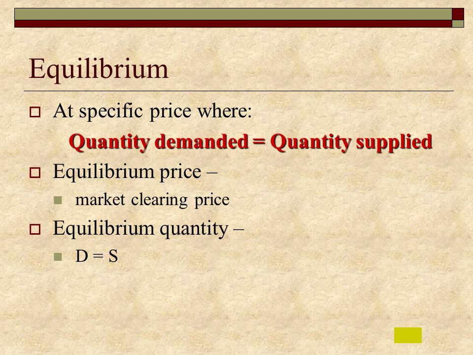 Equilibrium At specific price where: