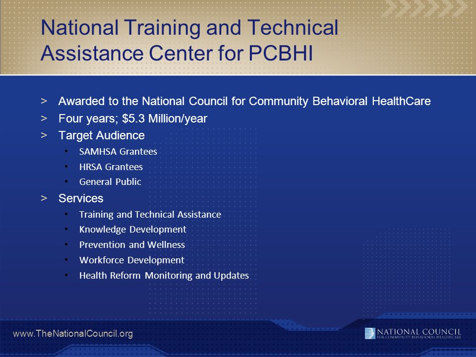 National Training and Technical Assistance Center for PCBHI