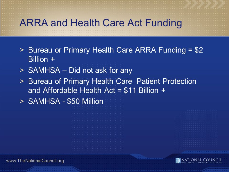 ARRA and Health Care Act Funding