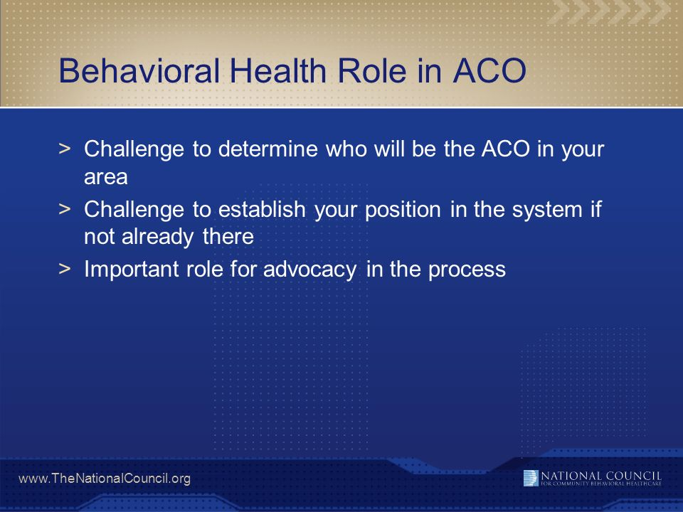 Behavioral Health Role in ACO