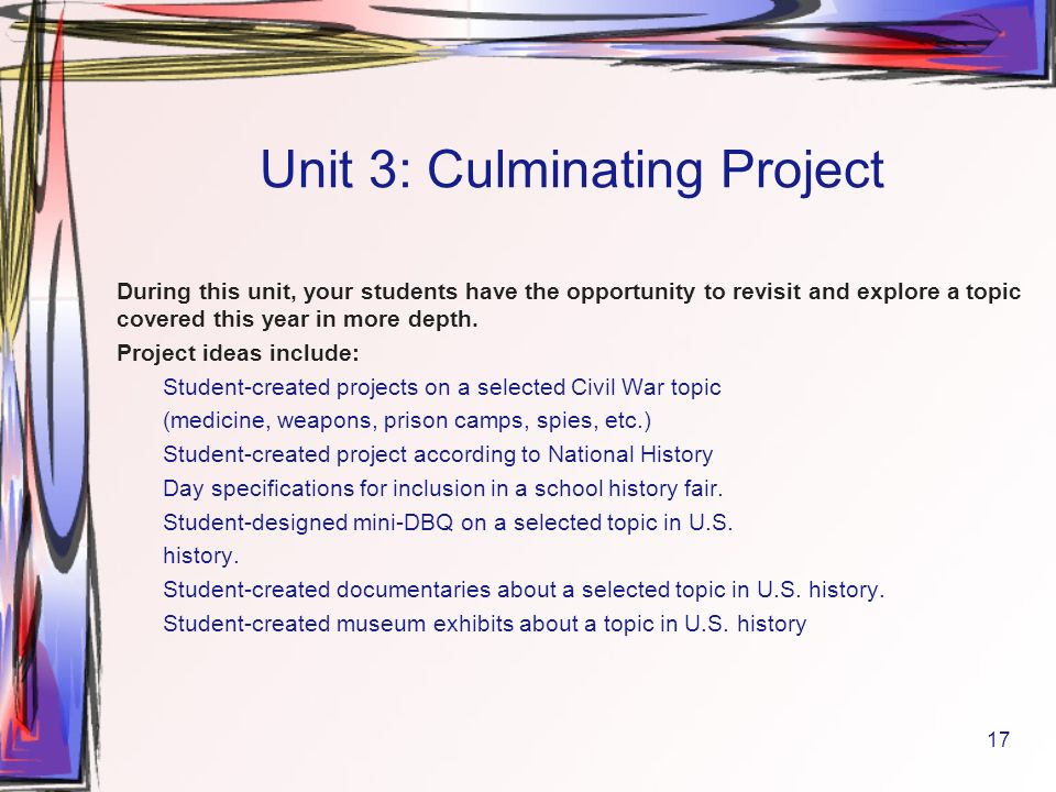 culminating project ideas for seniors