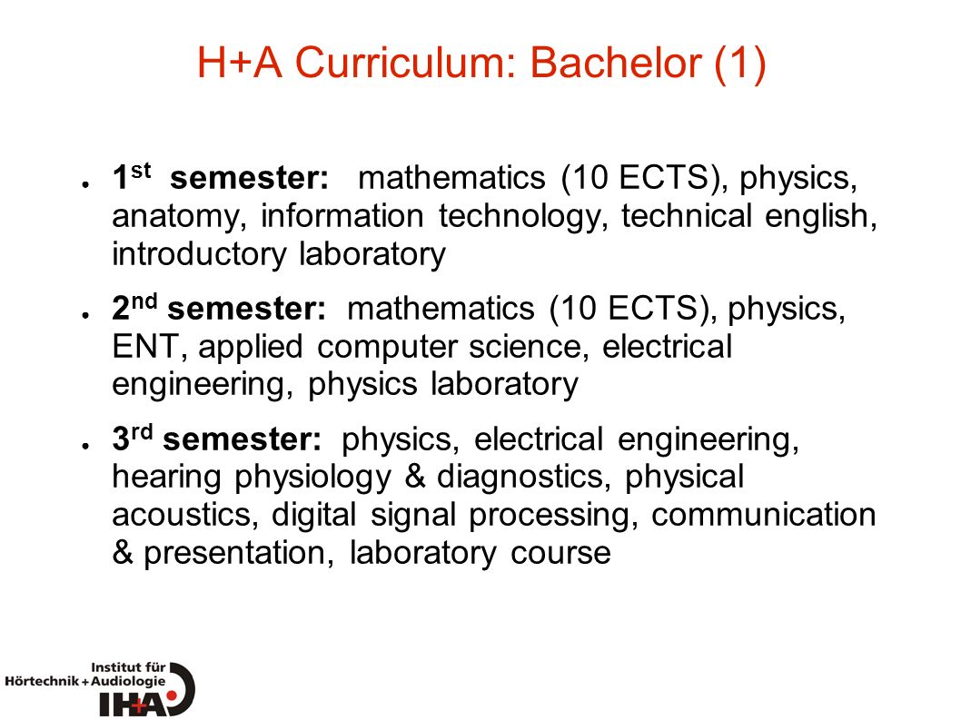 H+A Curriculum: Bachelor (1)