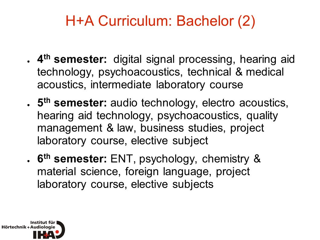 H+A Curriculum: Bachelor (2)