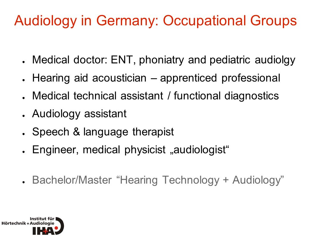 Audiology in Germany: Occupational Groups