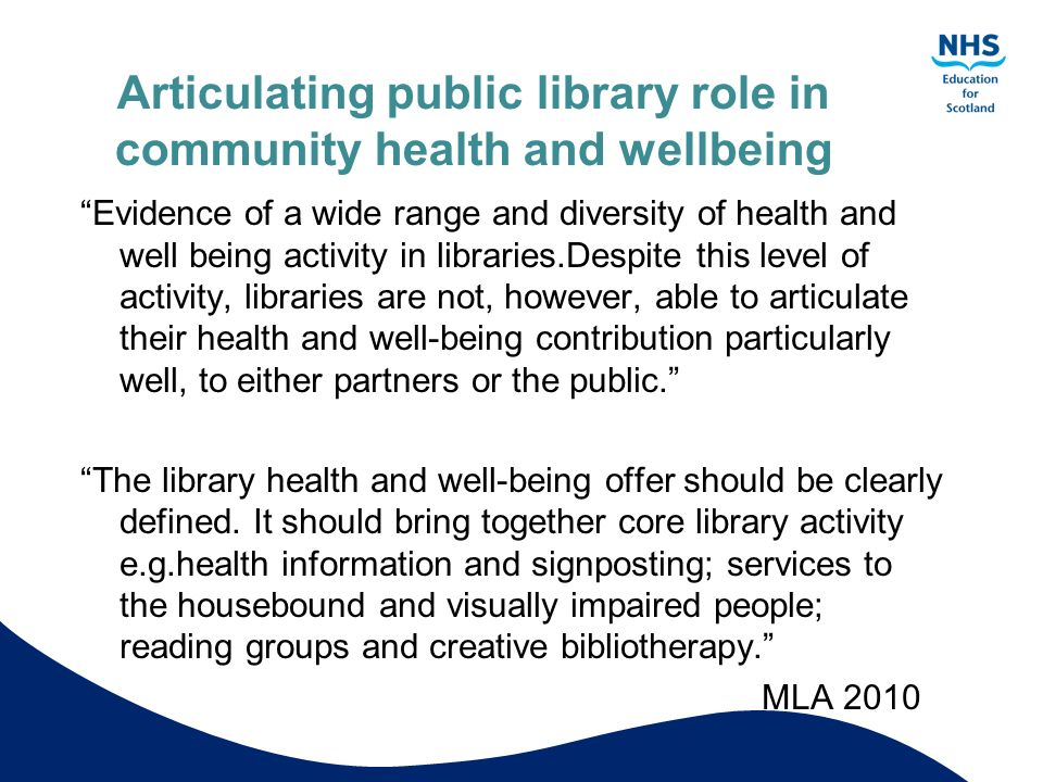 Articulating public library role in community health and wellbeing
