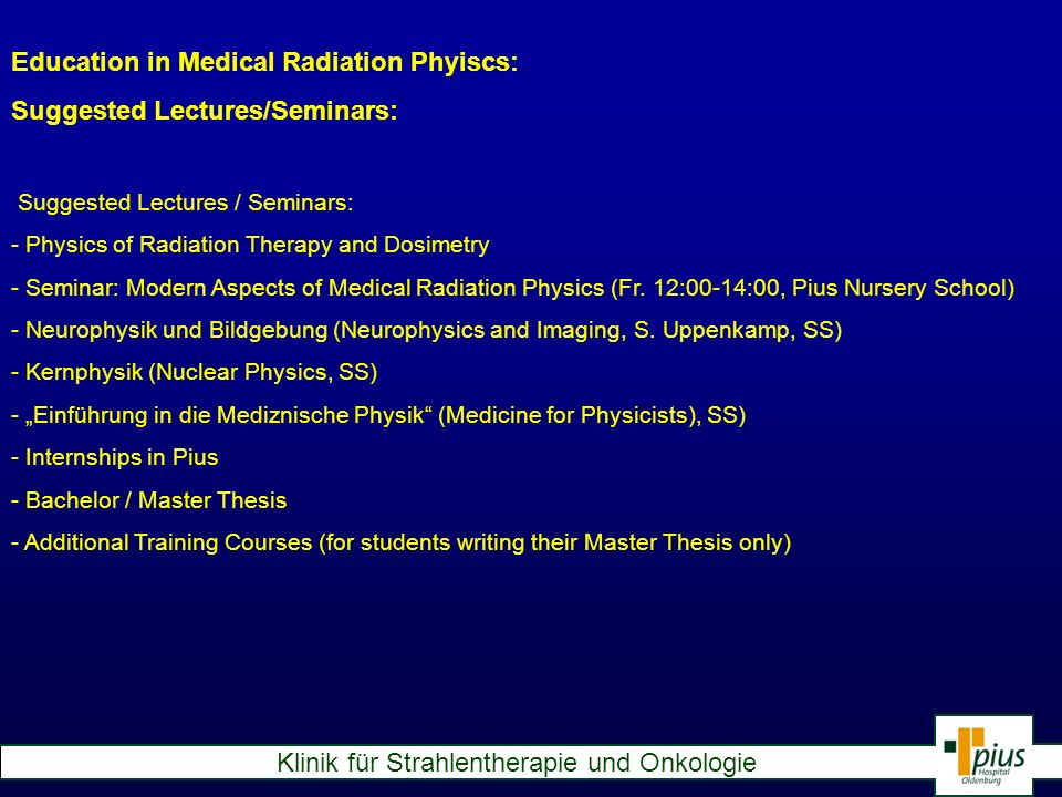 Education in Medical Radiation Phyiscs: Suggested Lectures/Seminars: