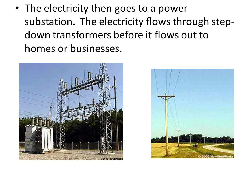 The electricity then goes to a power substation