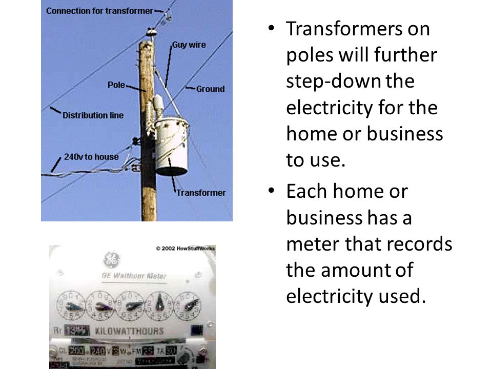 Transformers on poles will further step-down the electricity for the home or business to use.