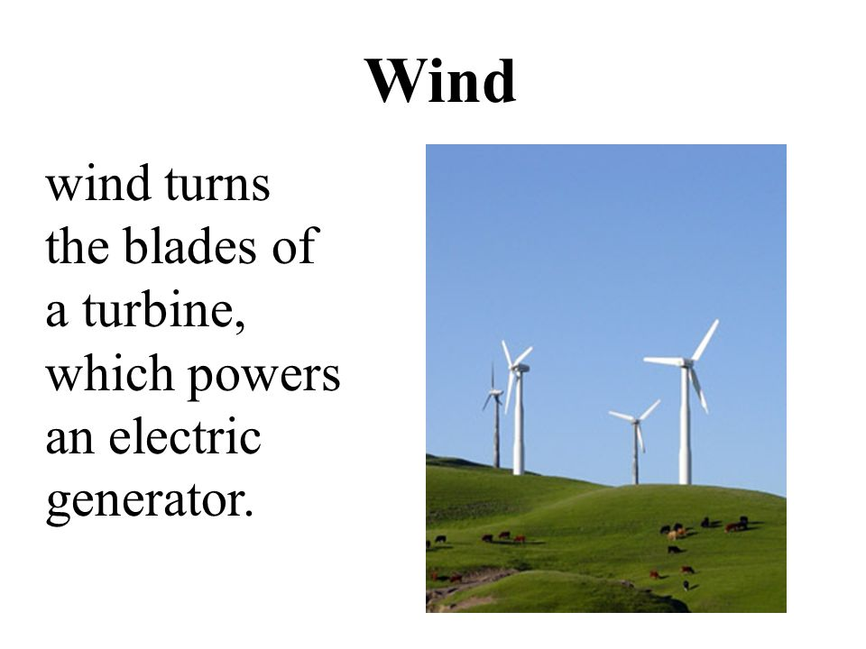Wind wind turns the blades of a turbine, which powers an electric generator.