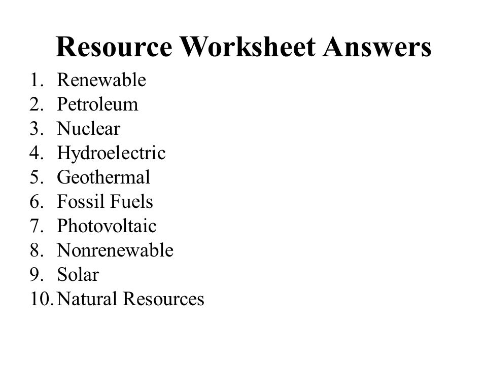 Resource Worksheet Answers