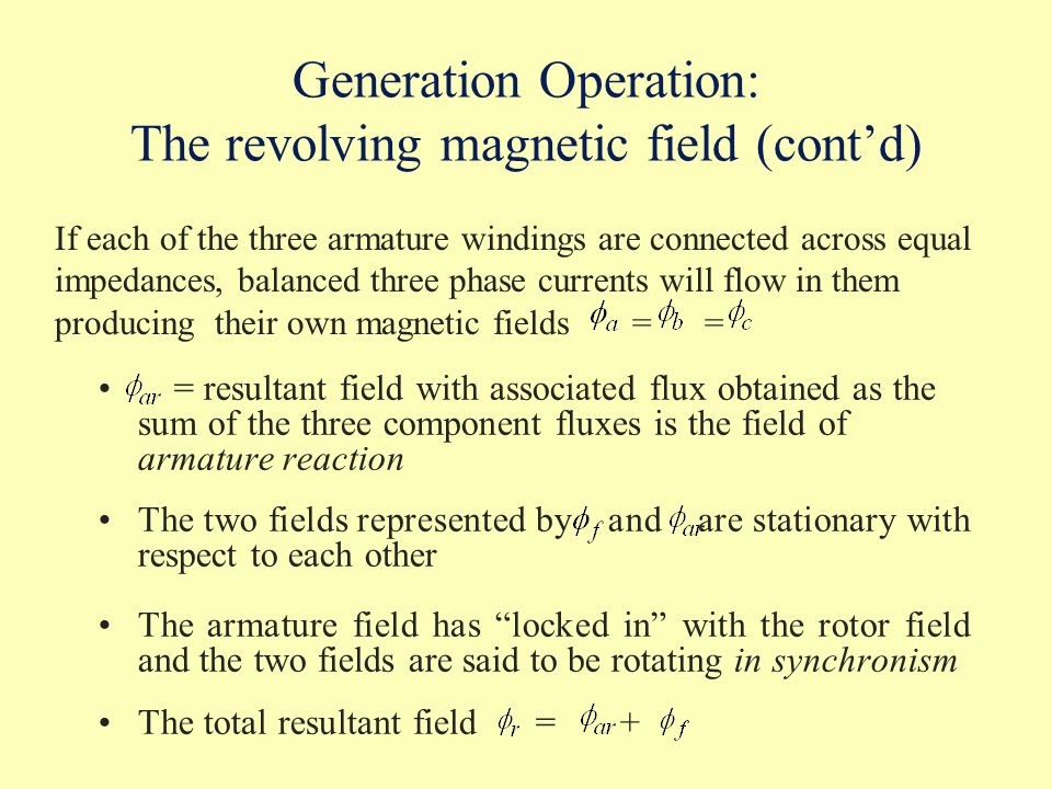 Generation Operation: The revolving magnetic field (cont'd)